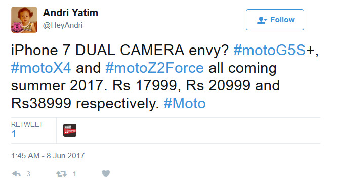 Pricing leaks on three Moto handsets carrying real-facing dual-camera setups - Pricing leaks on a trio of unannounced Moto handsets with a dual-camera setup on back