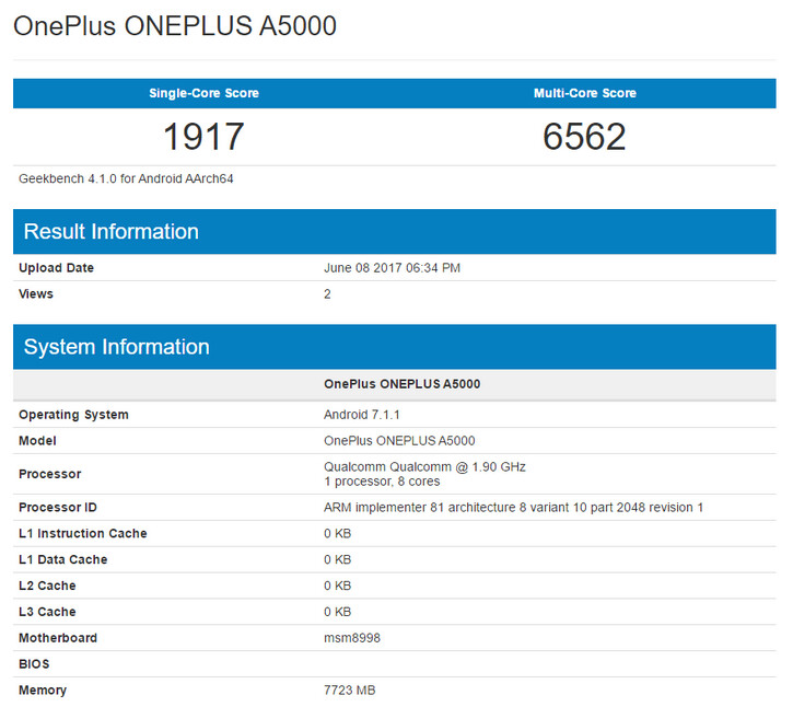 The OnePlus 5 appears on Geekbench with 8GB of RAM - OnePlus 5 arrives on Geekbench just prior to unveiling with 8GB of RAM and SD-835 SoC