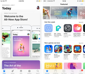 The iOS 11 App Store on the left vs the App Store in iOS 10 on the right