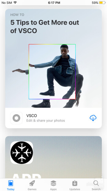 The Today tab in the iOS 11 App Store lists picks, app collections, useful tips articles and more