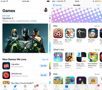 The Games tab in App Store for iOS 11 (left) vs the Games category in iOS 10 (right)