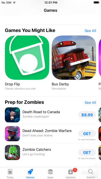 The Games tab in the App Store for iOS 11