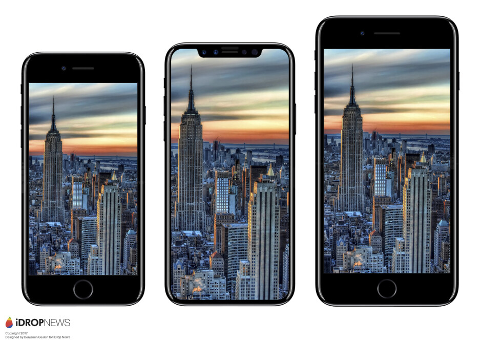 From left to right - iPhone 7, iPhone 8, iPhone 7 Plus - Apple iPhone 7s, 7s Plus, iPhone 8 rumor review: design, specs, features, price, release date