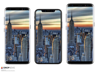From left to right - Galaxy S8, iPhone 8, Galaxy S8+