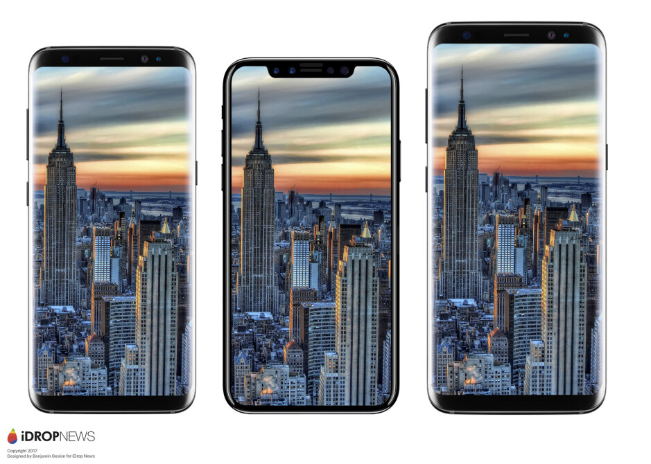 From left to right - Galaxy S8, iPhone 8, Galaxy S8+ - Apple iPhone 7s, 7s Plus, iPhone 8 rumor review: design, specs, features, price, release date