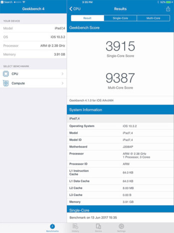 GeekBench results for one of the new iPad Pro models