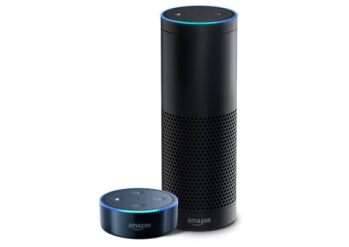 Pictured – Echo Dot (left) and Echo (right)