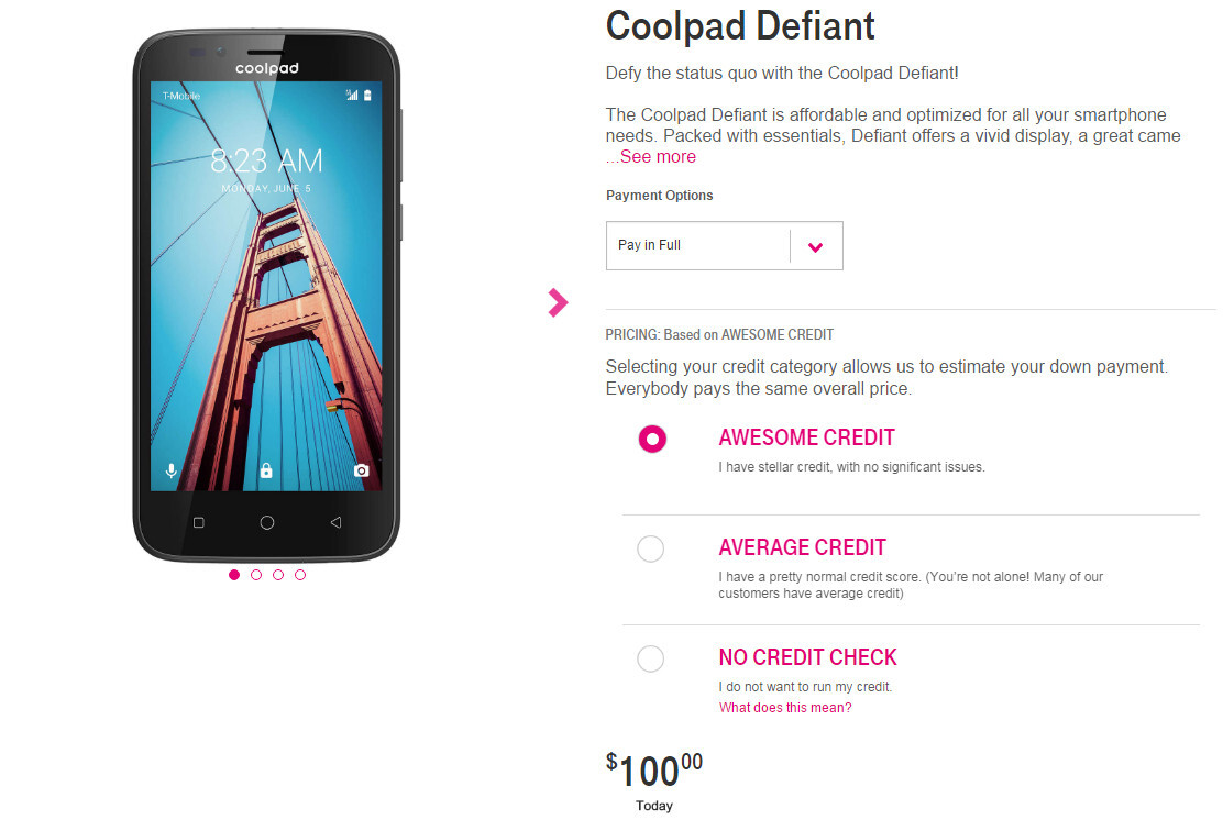 Nougat-powered Coolpad Defiant now available at T-Mobile for