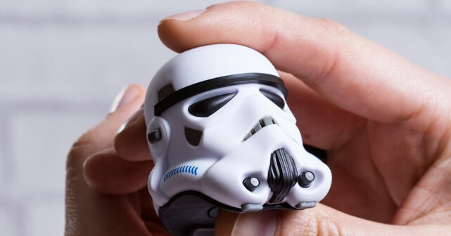 It is tiny, though. - Incredibly lifelike Stormtrooper helmet mini portable speaker plays tunes for the Empire