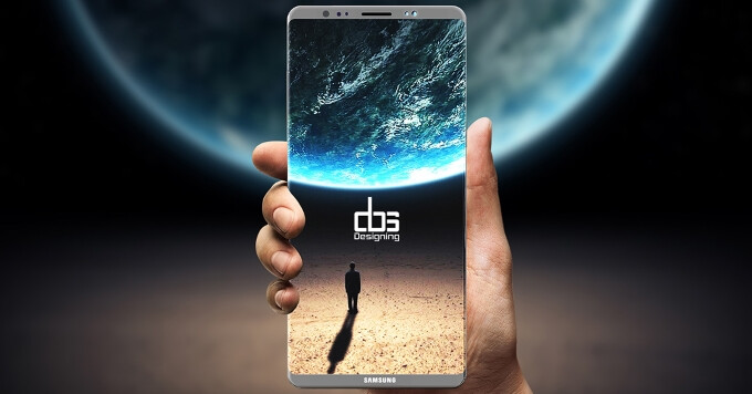 Concept image of the Galaxy Note 8. - Samsung's in-screen fingerprint scanner said to cause display brightness issues