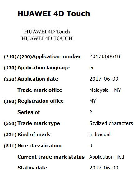 """Huawei applies for """"4D Touch"""" trademark"""