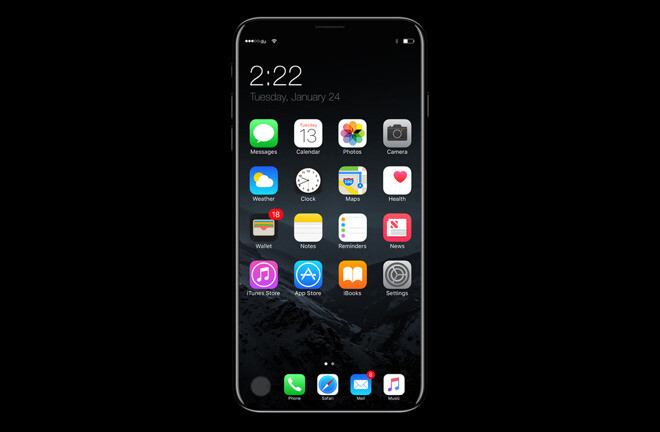 iPhone 8 concept image showing all-screen design - Apple may still be undecided on the iPhone 8's fingerprint sensor, less than 3 months from announcement