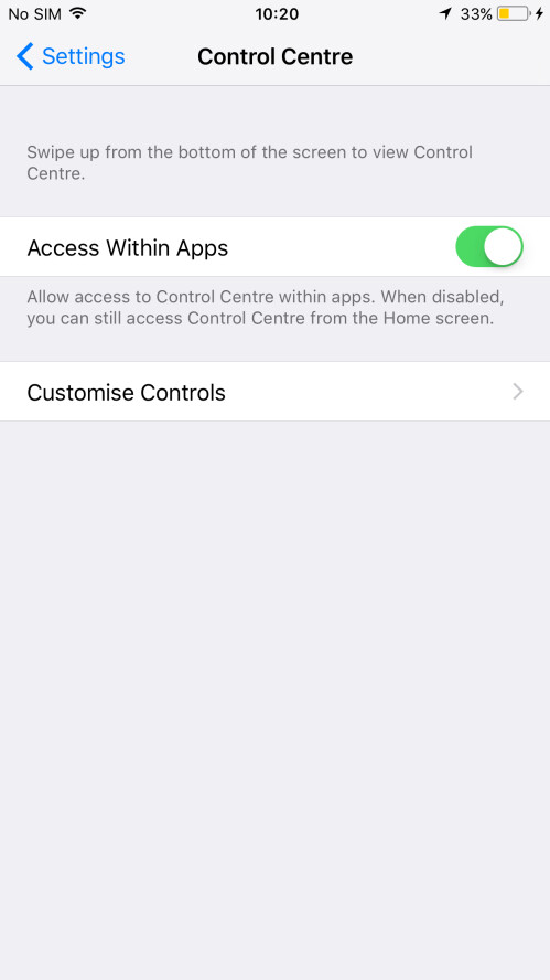 Control Center Access within apps