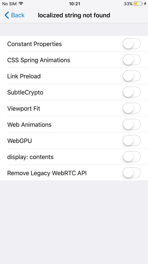 Experimental Safari features