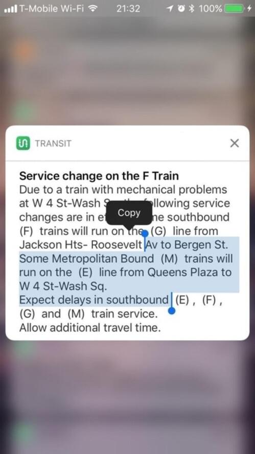 Copy notification text