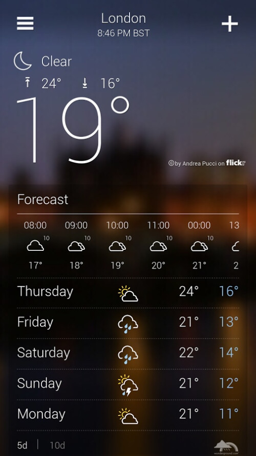 Android channel download weather