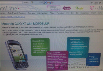 T-Mobile to price Motorola CLIQ XT at $99 with 2 year contract