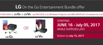 Get a free LG MiniBeam Projector and B&O BEOPLAY H3 headset when you buy an LG G6 or V20