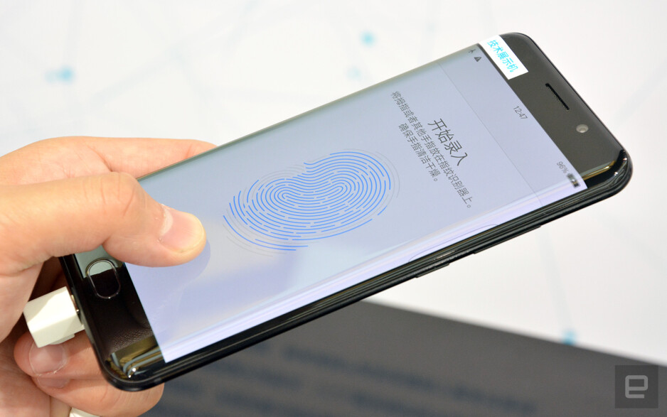Image courtesy of Engadget - Vivo is showing off a working in-screen fingerprint scanner prototype, courtesy of new Qualcomm tech