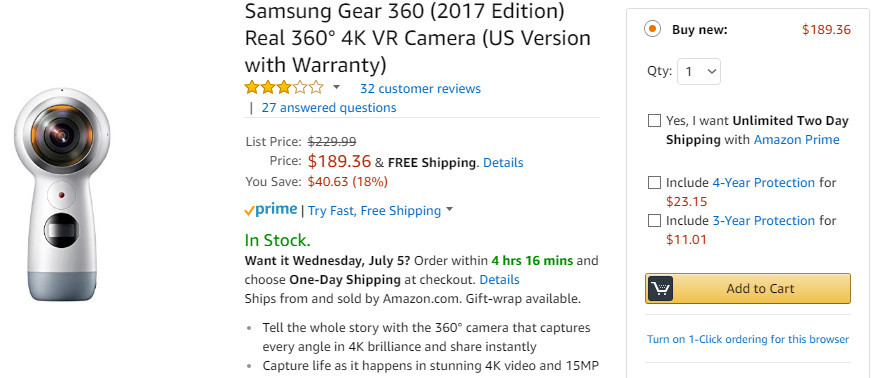 Deal: Save $40 when you buy the Samsung Gear 360 (2017) on Amazon