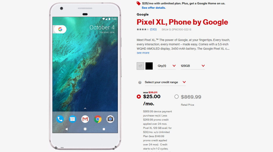 Deal: Verizon sells the Pixel for $15/month and Pixel XL for $20/month, adds free Google Home
