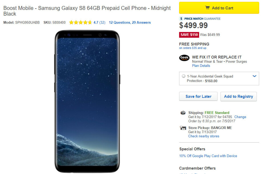 Deal: Samsung Galaxy S8 for Boost Mobile on sale for just $499.99 at Best Buy