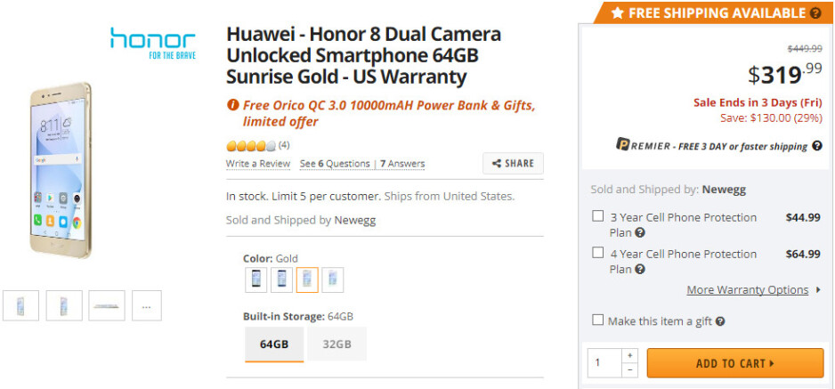 Deal: Newegg offers the Honor 8 64GB with accessory bundle for just $319.99