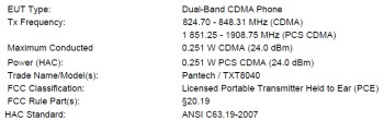 Pantech TXT8040 for Verizon passes the FCC