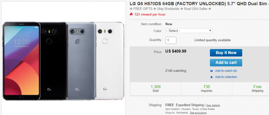 Deal: LG G6 (64 GB international model) now costs just $410