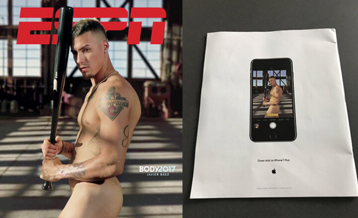 At left, cover shows ESPN Body issue with Javier Baez, shot on iPhone 7 Plus. At right, Apple's ad on the issue's rear cover - ESPN's 9th annual 'Body issue' cover was shot on Apple iPhone 7 Plus