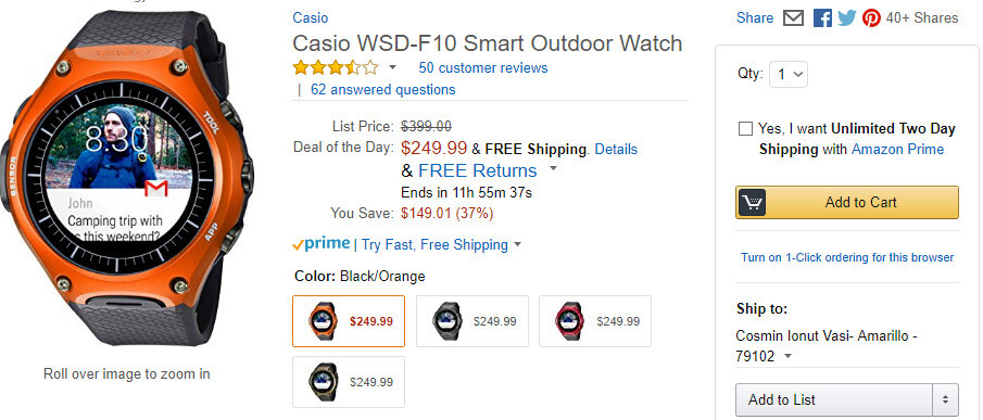 Deal: Casio WSD-F10 smartwatch is on sale for just $249.99 (nearly 40% off) on Amazon