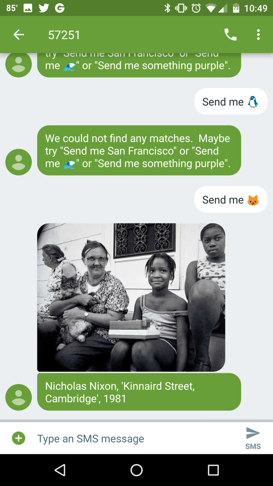 People can access over 35,000 pieces of art held at the SFMOMA, only by sending a free text from their mobile - This free service puts all artworks at the San Francisco Museum of Modern Art right in your phone