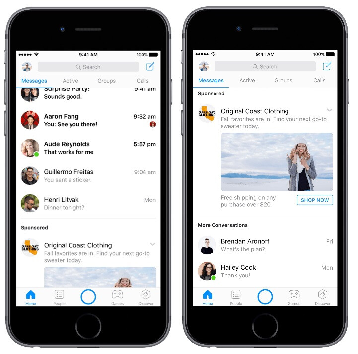Scrolling down reveals the entire advertisement. - You will start seeing ads in Facebook Messenger in the coming months