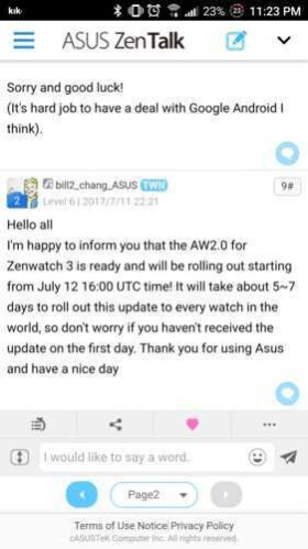 Asus ZenWatch 3 finally getting the Android Wear 2.0 update