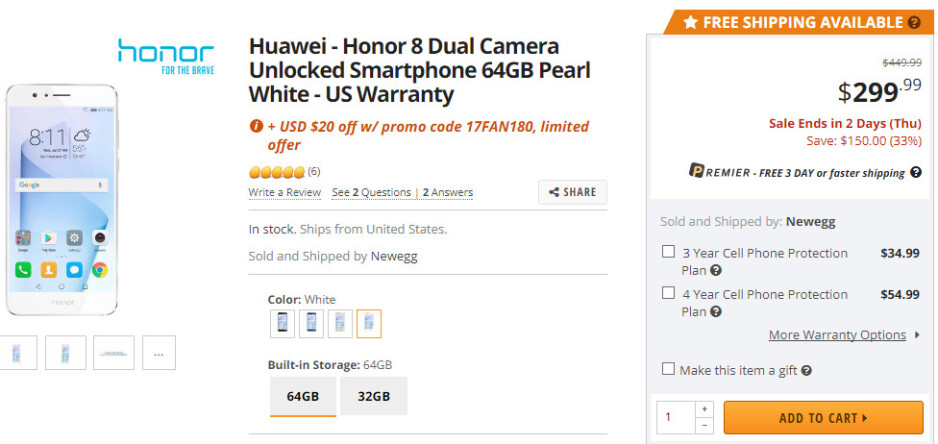 Deal: Save $170 when you buy the Honor 8, on sale at Newegg for just $279.99