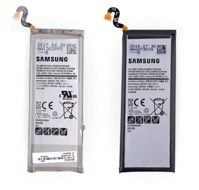 The new and old batteries are pretty much similar in size, but the smaller performed better at risk tests. Image credits to iFixit. - Samsung Galaxy Note Fan Edition teardown reveals a new, smaller-sized battery