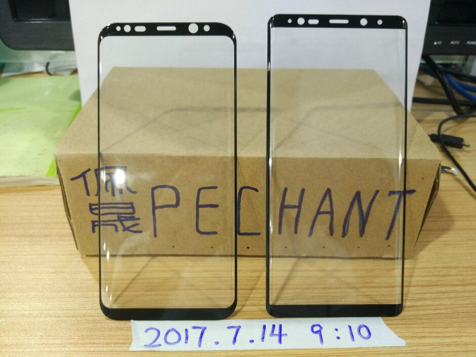 The Samsung Galaxy S8+ panel on left, is compared to the panel that allegedly belongs to the unannounced Samsung Galaxy Note 8 - Photo compares the front panel from the Galaxy S8+ to an alleged panel from the Galaxy Note 8
