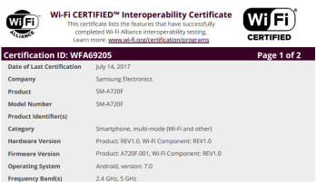 Samsung Galaxy A7 (2017) should start receiving Android 7.0 Nougat update soon