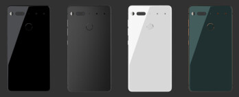 The four colors the Essential Phone will be available in. Currently, only the glossy black and white options are available for pre-order.