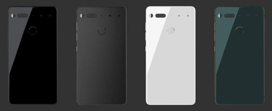 The four colors the Essential Phone will be available in. Currently, only the glossy black and white options are available for pre-order. - Essential Phone release date, price, and availability: all we know so far