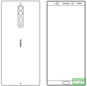 Alleged sketches of the Nokia 9 (left) and Nokia 8 (right)