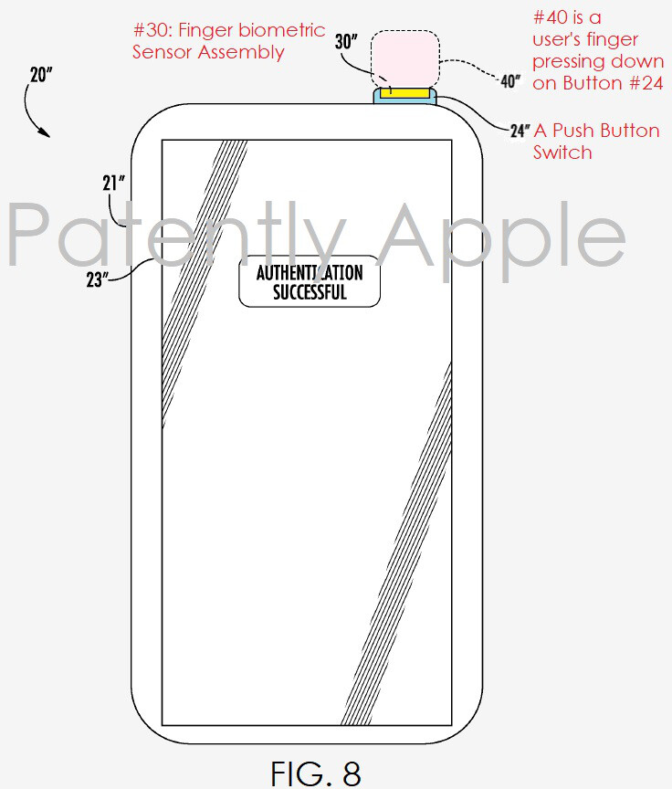 Could the iPhone 8's finger scanner be embedded in the power button?
