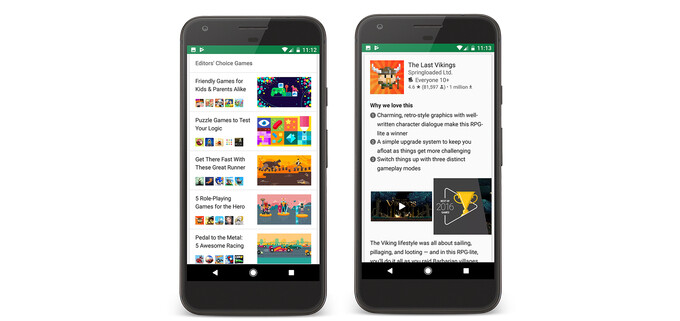 Google Play scores curated lists via Editors' Choice section