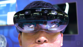 Lenovo's concept AR headset features clearly visible sensors at the front that do not seem like a brilliant design decision. Image credit to Engadget. &nbsp