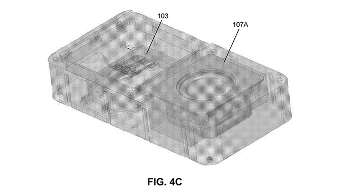 A picture from Facebook's patent application showing a device with removable speaker and processor - Facebook is secretly reviving Google's modular Project Ara