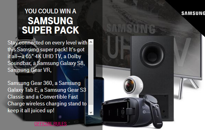 Freebies and contest prizes for this week's T-Mobile Tuesday - This coming Tuesday's weekly T-Mobile contest features free Samsung devices including the Galaxy S8