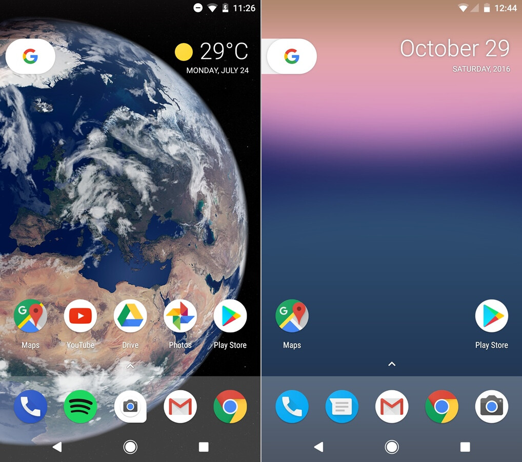 Android O (left) vs Android N (right) - Home screen