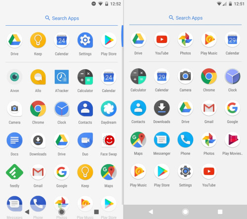 Android O (left) vs Android N (right) - App drawer