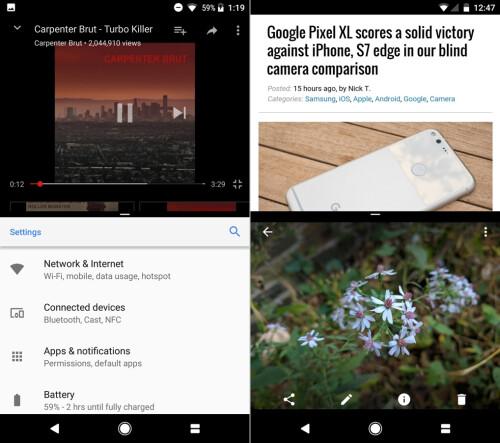 Android O (left) vs Android N (right) - Splitscreen multi-tasking