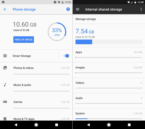 Android O (left) vs Android N (right) - Storage